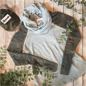 Tops - NEW Long Sleeve Grey & Camo Cowl Neck Distressed